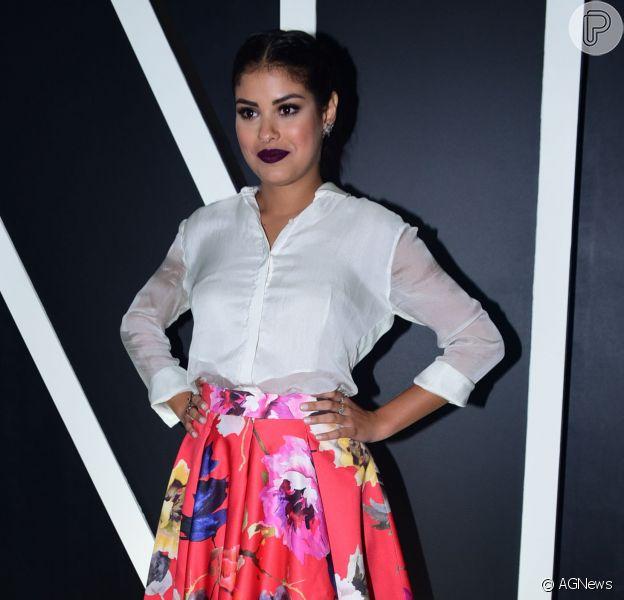 A ex-BBB Munik Nunes marcou presença pela primeira vez na São Paulo Fashion Week, em São Paulo, nesta terça-feira, dia 26 de abril de 2016