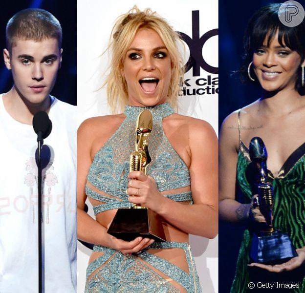 Justin Bieber, Britney Spears e Rihanna foram um dos artistas premiados no 'Billboard Music Awards 2016, neste domingo, 22 de maio de 2016