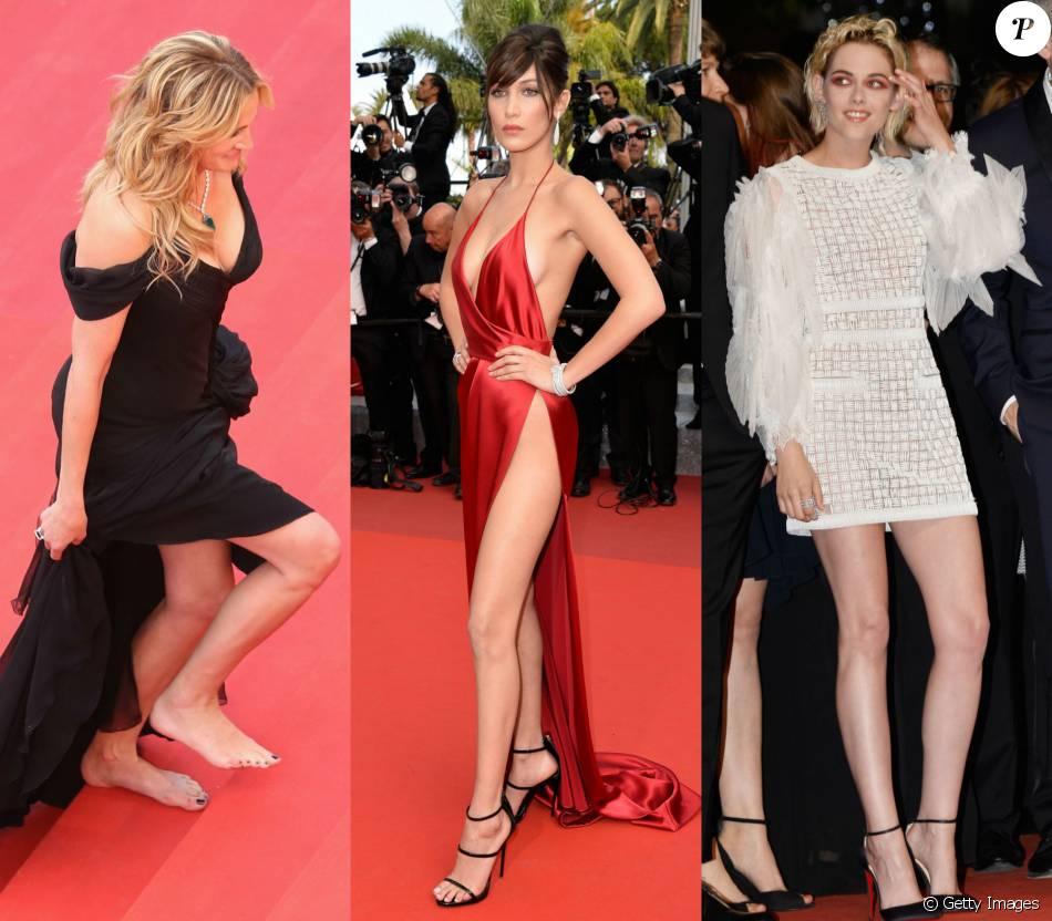 Julia Roberts descalça, Bella Hadid em look revelador e Kristen Stewart com maquiagem exótica. Confira os destaques do tapete vermelho do Festival de Cannes 2016