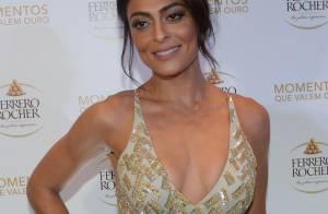 Juliana Paes esbanja boa forma com look decotado e costas de fora. Fotos!