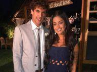 Aline Riscado posa em casamento ao lado do namorado, Felipe Roque: 'Meu amor'