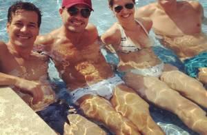 Rodrigo Faro curte piscina em família depois do nascimento da 3ª filha, Helena