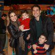 Wanessa Camargo, o marido, Marcus Buaiz, e José Marcus, de 5 anos, comemoram o aniversário de 2 anos do caçula da família, João Francisco, nesta terça-feira, 14 de junho de 2016, em São Paulo