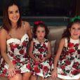 Vera Viel, mulher de Rodrigo Faro, e as três filhas do casal, Clara, Maria e Helena, apostam em vestidos iguais