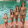 Vera Viel, mulher de Rodrigo Faro, e as três filhas do casal, Clara, Maria e Helena, usam biquínis iguais