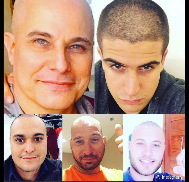 Enzo Celulari e família raspam a cabeça em apoio a Edson Celulari, após o ator anunciar que está se tratando de um câncer raro