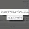 O Portal da Transparência publicou o preço cobrado por Wesley Safadão para fazer show no São João de Caruaru: R$ 575 mil, bem inferior aos R$ 195 mil pedidos para se apresentar no São João de Campina Grande (PB)