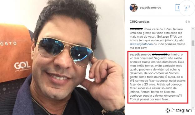 Zezé Di Camargo alfineta Wesley Safadão em comentário na web nesta quinta-feira, dia 23 de 2016