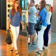 De calça branca e blusa jeans, Marina Ruy Barbosa escolhe sandália de salto, óculos com lentes espelhadas e bolsa de grife para montar sua produção