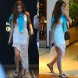 Assimétrica e rendada, a saia usada por Marina Ruy Barbosa em shopping foi o diferencial do look
