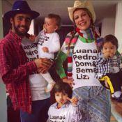 Luana Piovani mostra a família em clima junino com camisetas iguais