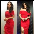 Anitta apostou em um look completamente vermelho: vestido da marca brasileira Corporeum e sapatos Versace