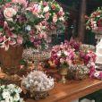 Decoração do casamento de Gretchen foi toda em tons de rosa