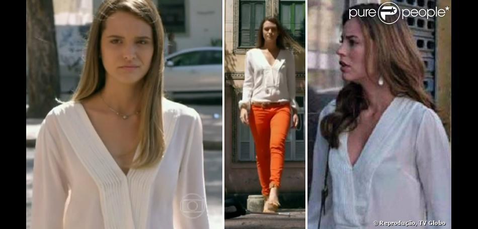 Lili (Juliana Paiva) e Paloma (Paolla Oliveira), as mocinhas de 'Além do Horizonte' e de 'Amor à Vida', usaram a mesma camisa branca, da grife Bo.Bô