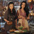 Léia (Beth Goulart) e Samara (Paloma Bernardi) são chantageadas por Adara (Yaçanã Martins), presa após revelar ser uma cananeia , na novela 'A Terra Prometida'