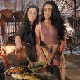 Léia (Beth Goulart) e Samara (Paloma Bernardi) colocam veneno no peixe e dão para Adara (Yaçanã Martins) comer, na novela 'A Terra Prometida'