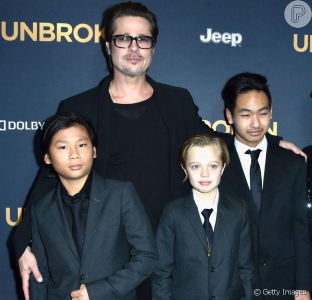 Brad Pitt reencontrou os filhos pela primeira vez desde que Angelina Jolie entrou com pedido de divórcio no dia 19 de setembro de 2016
