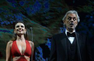 Sob o olhar do namorado, Paula Fernandes canta com Andrea Bocelli. Veja fotos!