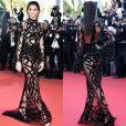 Com vestido Roberto Cavalli, Kendall Jenner deixou o sutiã bege e a hot pants preta à mostra e a dúvida sobre o uso de sutiã no festival de Cannes, em maio de 2016