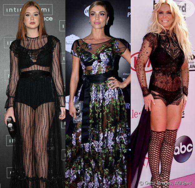 Esconder a lingerie? Jamais! Veja as produções escolhidas por Marina Ruy Barbosa, Grazi Massafera, Britney Spears e outras famosas que optaram em deixar a peça íntima à mostras nos looks