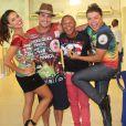 Paloma Bernardi, Thiago Martins e David Brazil na quadra da Grande Rio