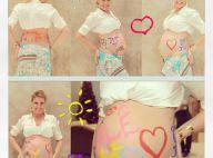 Ana Hickmann, grávida, exibe barrigão de 8 meses todo pintado: 'Bom dia'