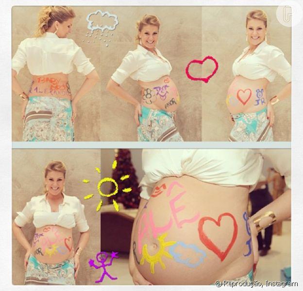 Ana Hickmann está grávida de 8 meses de seu primeiro filho, Alexandre, em 16 de janeiro de 2013