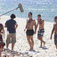 Gabriel Braga Nunes e Ronny Kriwat gravaram cenas de 'Em Família' na manhã desta sexta-feira, 24 de janeiro de 2014, na praia do Recreio dos Bandeirantes, Zona Oeste do Rio