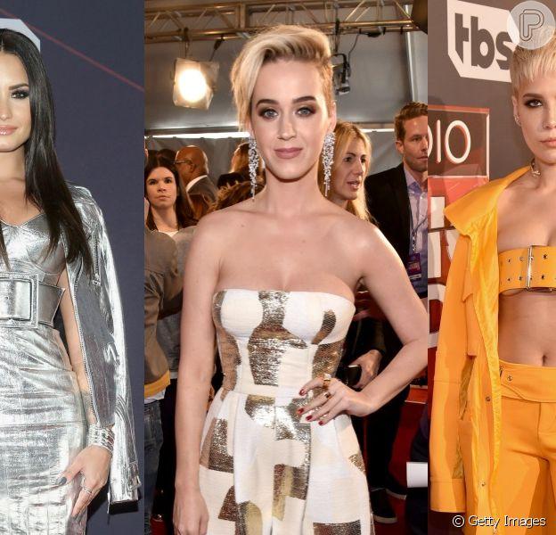 Demi Lovato, Katy Perry, Halsey e mais! Veja os looks dos famosos no tapete vermelho do iHeartRadio Music Awards