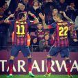 Neymar já  comemorou o gol marcado pelo amigo Daniel Alves com a música 'Lepo Lepo', do Psirico, em jogo recente pelo Barcelona
