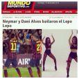Neymar e Daniel Alves dançam hit brasileiro 'Lepo Lepo', do Psirico, em jogo; dança foi destaque em imprensa internacional