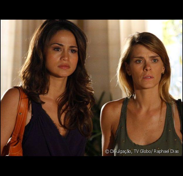 Morena (Nanda Costa) e Jéssica (Carolina Dieckmann) conseguem chegar ao apartamento de Helô (Giovanna Antonelli) para contar toda a verdade em 'Salve Jorge', em 16 de janeiro de 2013