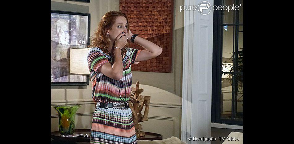 Priscila (Laila Zaid) descobre que sua gravidez é psicológica, em 'Alem do Horizonte', em 24 de março de 104