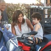 Daniele Suzuki brinca com o filho, Kauai, em gravação no Rio de Janeiro