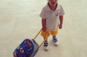 Amaury Nunes, par de Danielle Winits, posta foto do 'enteado' Guy indo a escola