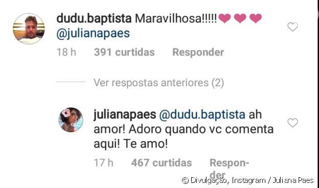 Juliana Paes recebe elogio do marido, Carlos Eduardo Baptista