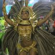 Erika Januza  comemora dois desfiles seguidos: ' É a minha maratona de carnaval. Mas tudo bem! É uma delícia! A gente esquece tudo quando escuta a música na Avenida'