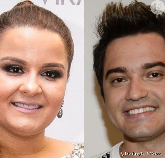 Maiara e Fernando Zor trocaram muitos beijos no palco do show que a cantora fez com a irmã, Maraísa, em Foz do Iguaçu