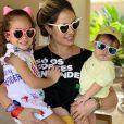 Thyane Dantas compartilhou foto fofa com filhos, Dom, de 7 meses, e Ysis, de 4 anos