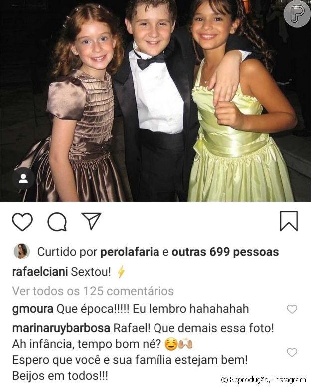 Marina Ruy Barbosa deixou comentário em foto de infância com ator e Bruna Marquezine