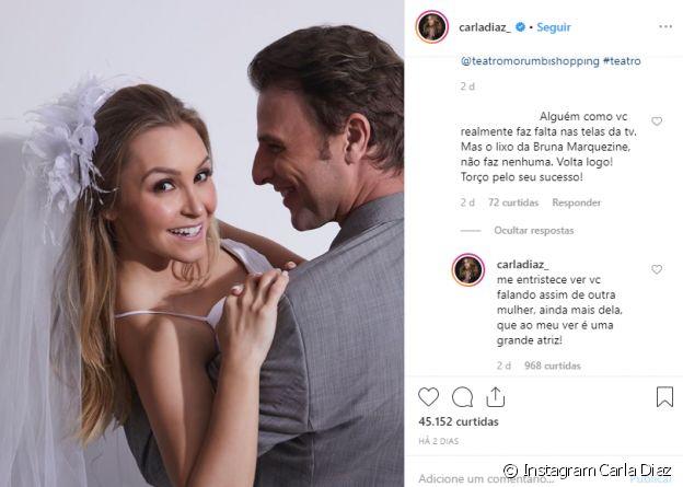 Carla Diaz rebate comentário negativo de seguidora sobre Bruna Marquezine