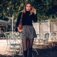Meia-calça preta tradicional não tem erro e vai bem com shortinho, com saia e vestido!