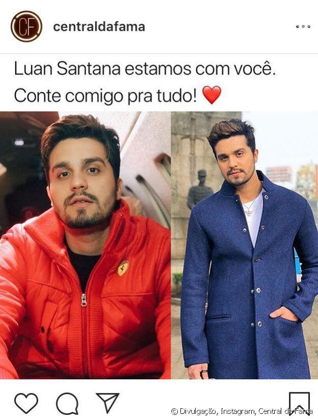 Luan Santana é defendido no Instagram da Central da Fama, nesta quinta-feira, dia 13 junho de 2019