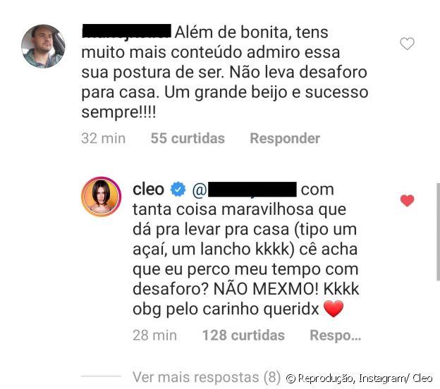 Cleo se diverte com comentário de fã que a apoiou