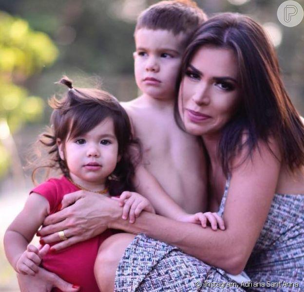 Adriana Sant'Anna mostrou filhos, Rodrigo e Linda, em vídeo nesta segunda-feira, 9 de setembro de 2019
