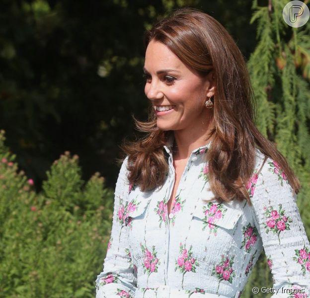 Kate Middleton aposta em look floral para inauguração de jardim nesta terça-feira, dia 10 de setembro de 2019