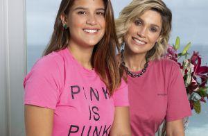 Outubro Rosa: Flávia Alessandra e filha usam rosa em evento sobre câncer de mama