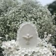 Topo de bolo do batizado de Eduardo, filho de Luma Costa, era uma placa com o Espírito Santo