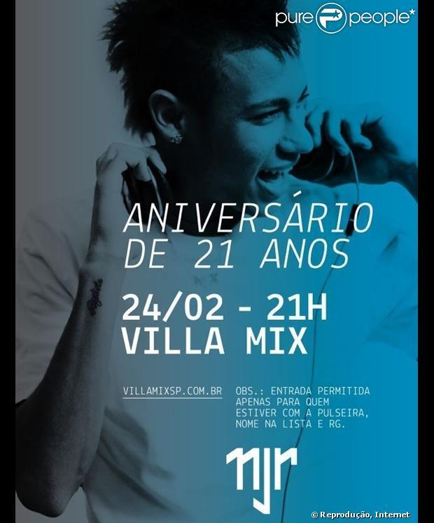 Neymar vai comemorar o aniverário de 21 anos em boate de São Paulo, em 24 de fevereiro de 2013