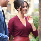Meghan Markle cria look monocromático com saia já usada por rainha da Espanha